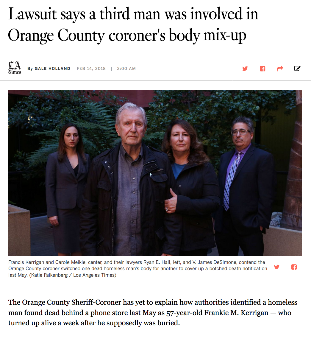 Orange County Body mixup